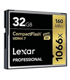 Tarjeta compact flash 32GB Lexar® Professional 1066x hasta 160MB/s de lectura y 155MB/s de escritura
